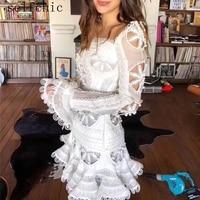 White Runway Dress Women Long Sleeve Elegant Party Mini Dresses 2019