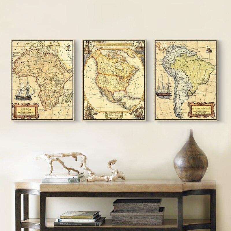 Aliexpress Buy Modern Vintage Geographic World Map