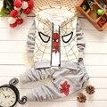 Los bebés Varones Primavera Otoño Deportes del Hombre Araña traje de 3 unidades set Chándales de Los Niños sistemas de la Ropa Casual ropa de Abrigo Pantalón camiseta