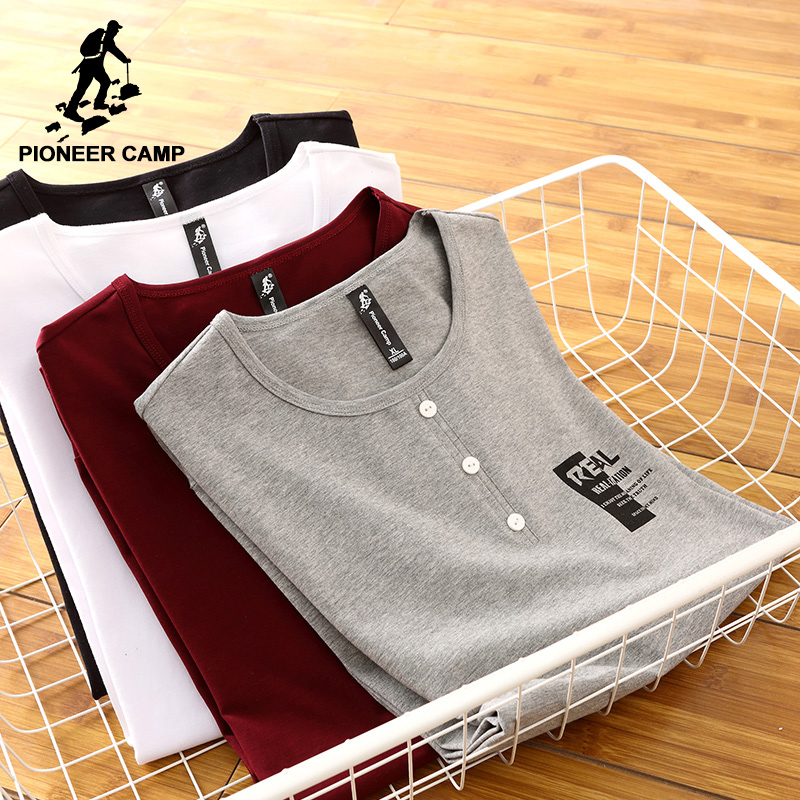 Pioneer Camp new long sleeve button   T  -  shirt   men brand-clothing casual print   T     shirt   male top quality stretch Tshirt ACT701191