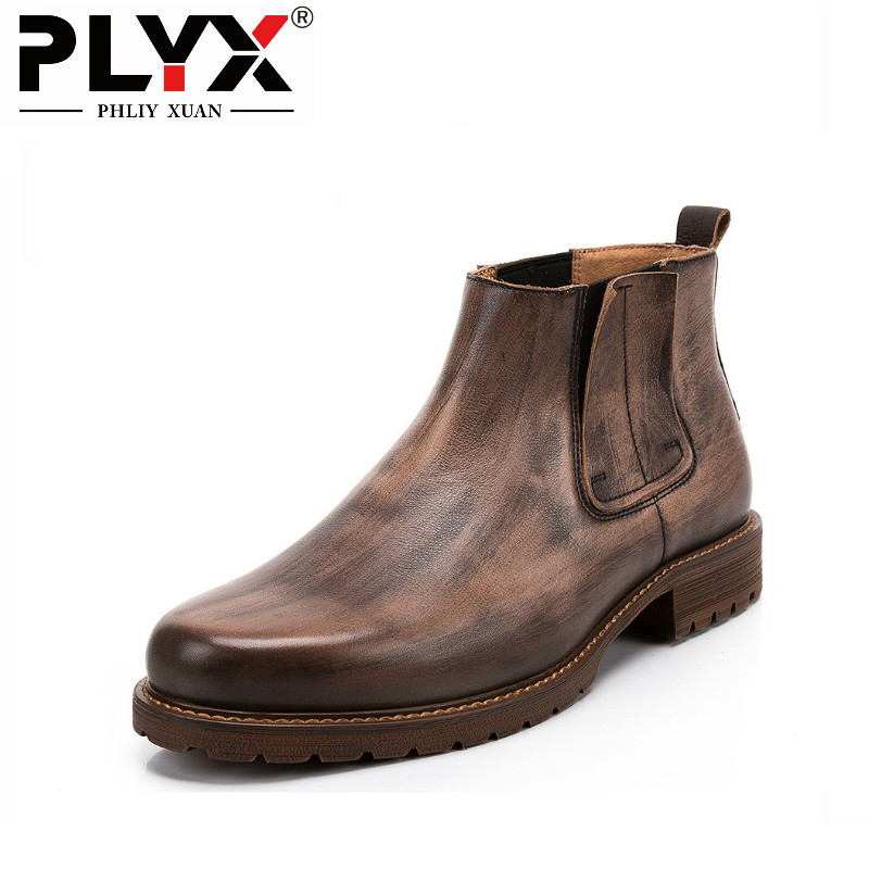 PHLIY XUAN British New 2018 Style Retro Genuine Leather Men Ankle Boots 100% Handmade Bota Stitching Winter Tactical Boots serene handmade winter warm socks boots fashion british style leather retro tooling ankle men shoes size38 44 snow male footwear
