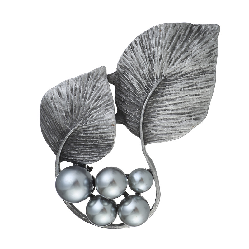 Jewelry Sets & More Creative Tin Alloy Leaf Brooches For Women Unique Indian Style Grey Pearl Beads Brooches Pins For Clothes Badge Bijoux Lx-10229 Pleasant In After-Taste