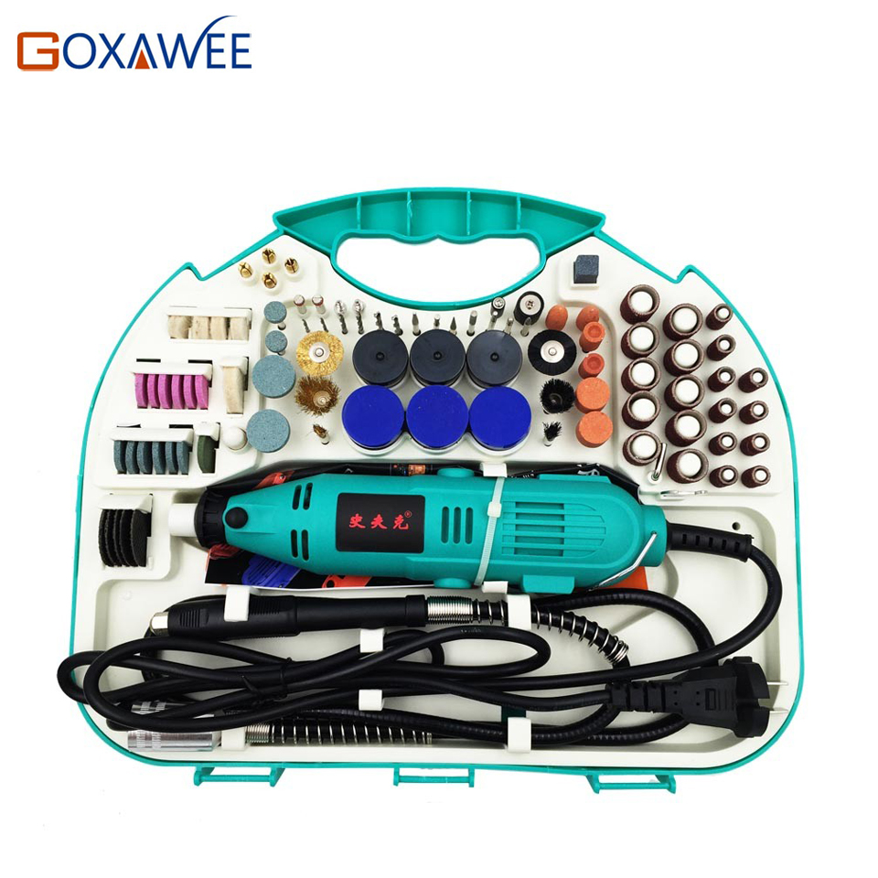 GOXAWEE 210pcs Electric Drill Rotary Tool Variable Speed For Dremel Tools Mini Drill For Mini Grinder Polishing Power Tool  цены