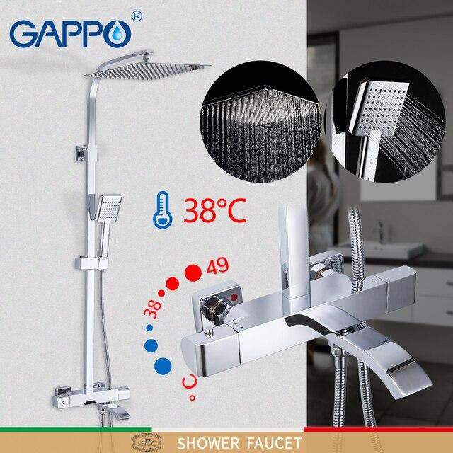 GAPPO douchekraan thermostatische badkamer kraan thermostatische mengkraan wall mounted regendouche set mengkraan douche systeem