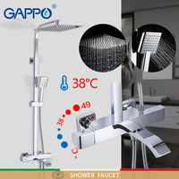 Gappo torneira do chuveiro termostática torneira do banheiro misturador termostático fixado na parede do chuveiro de chuva conjunto misturadora sistema|Torneiras p/ chuveiro|   -