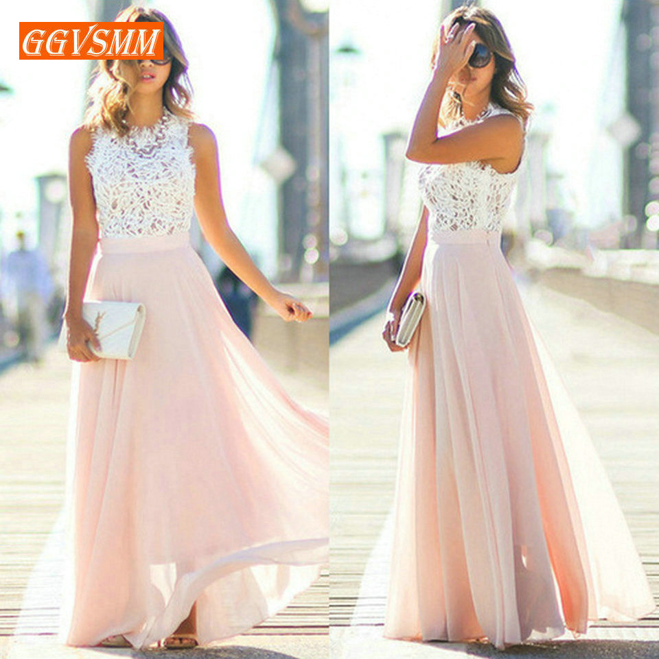 Stylish Pink Long Prom Dresses 2019 Cheap Prom Dress Women Real Photos O-Neck Chiffon Lace A-Line Banquet Evening Party Gown New