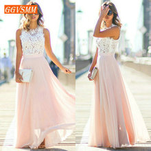 Stylish Pink Long Prom Dresses 2019 Cheap Dress Women Real Photos O-Neck Chiffon Lace A-Line Banquet Evening Party Gown New