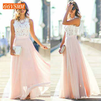 Stylish Pink Long Prom Dresses 2019 Cheap Prom Dress Women Real Photos O-Neck Chiffon Lace A-Line Banquet Evening Party Gown New - DISCOUNT ITEM  12% OFF All Category
