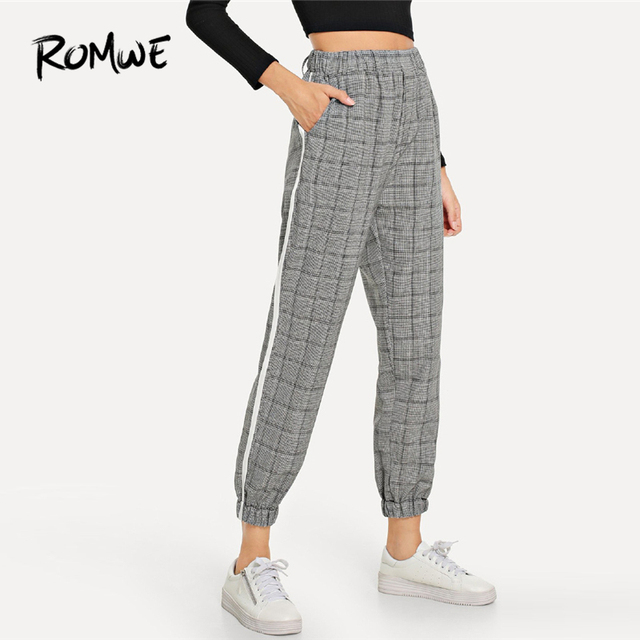 ROMWE Grey Pocket Elastic Waist Plaid Pants Female Casual Autumn Mid Waist Bottoms Spring Women Tapered Carrot Trousers