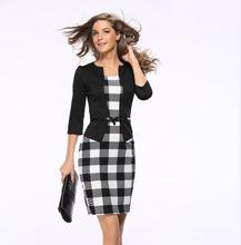Элегантное Платье Женщины Осень Лето Тонкий Цветочный Leopard Плед Bodycon Коктейль Офис Повседневная Леди Карандаш Платья плюс Размер