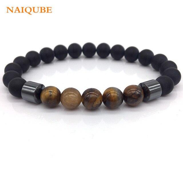 Naiqube Por Tiger Eye Bead Bracelet Men 2018 New Fashion Stone Beaded Charm For