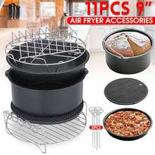 11 шт. воздушные приборы для фритюрницы 9 дюймов подходят для Airfryer 5,2-6.8QT корзина для выпечки блюдо для пиццы накладки на зубы кухонный инструмент для вечерние