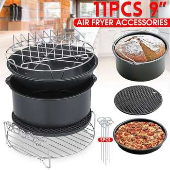 11 sztuk frytkownica powietrza akcesoria 9 Cal nadające się do Airfryer 5.2-6.8QT pieczenia kosz Płyta do pizzy Grill Pot kuchnia gotowanie narzędzie na imprezę