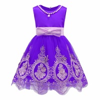 Retail Mesh Wave Hemline Girls Evening Party Dress With Pearl Necklace Cute Embroidery Princess Dress With