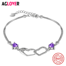 925 Sterling Silver Bracelet Heart Charm Woman Bracelet AAA Crystal Silver Female Jewelry