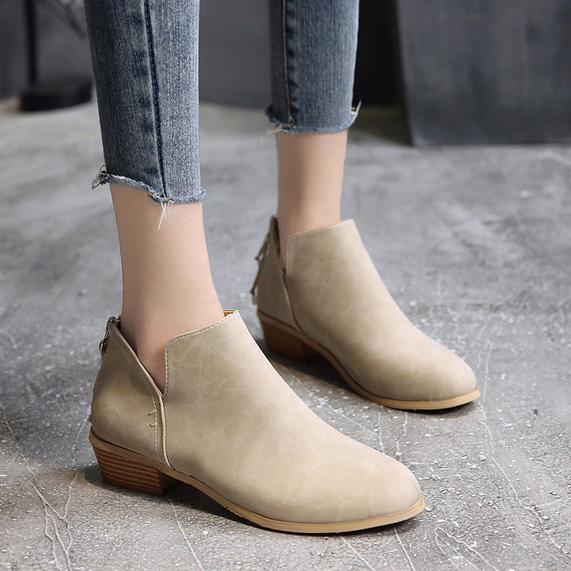 GOXPACER Autumn New Boots Women Mid Heels Martin Boots Back Zip Fashion Pointed Toe Ankle Shoes Short New Plus Size 35-43 2018 new fashion autumn winter womens martin boots zip point toe thin high heels sexy boots white black ankle mujer size 32 48