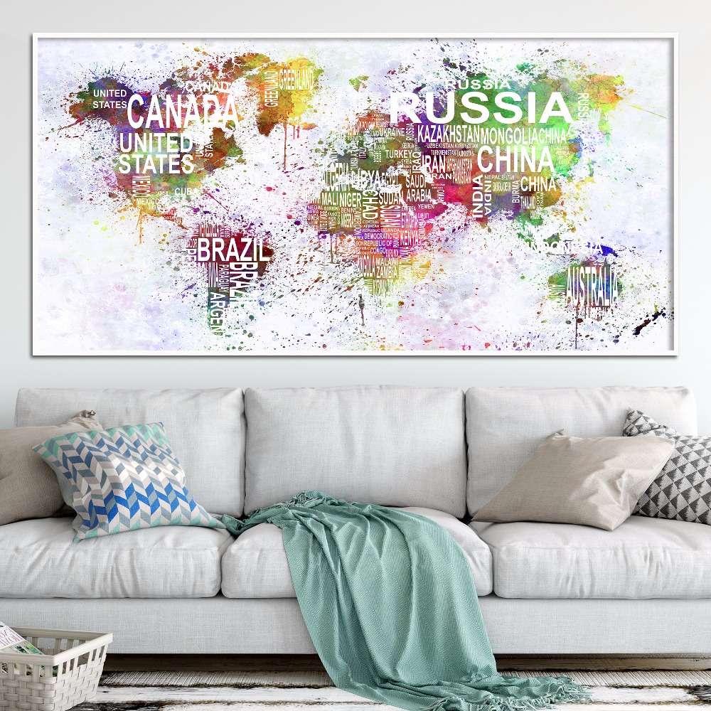 Hot Sales Black White Letter World Map Canvas Print Painting Poster ...
