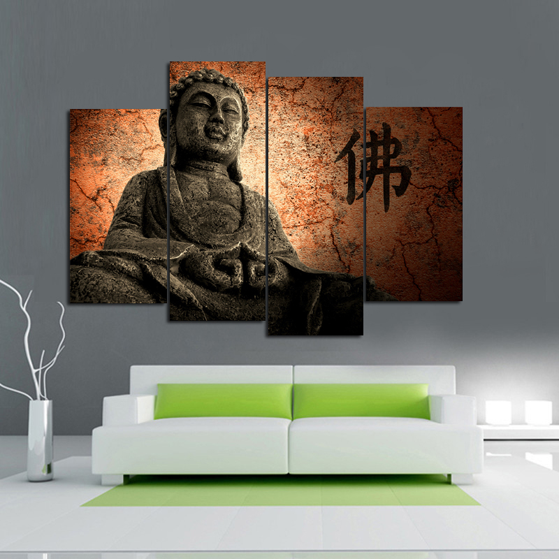 WALL ART BUDDHA PICTURES ON CANVAS modern room decoration large ...