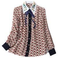 Popular 100% real silk women Shirt full sleeve Flower Embroidery Collar Casual Silk blouse Shirt spring summer Silk Shirt XL