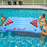 Inflatable Swimming Float Pool Toys With 24 Cup Holder Ice Bucket Beer Cooler Table Bar Tray Pool Party Pong Accessories boia