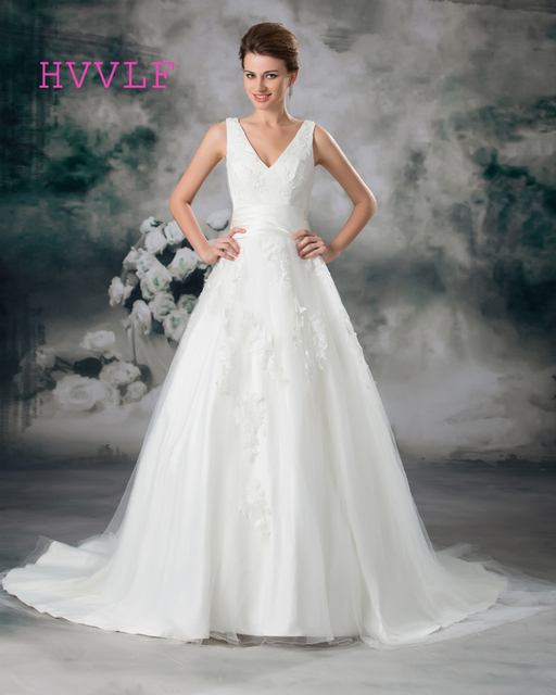 Lace 2018 Wedding Dresses A line V neck Tulle Appliques Lace Boho ...