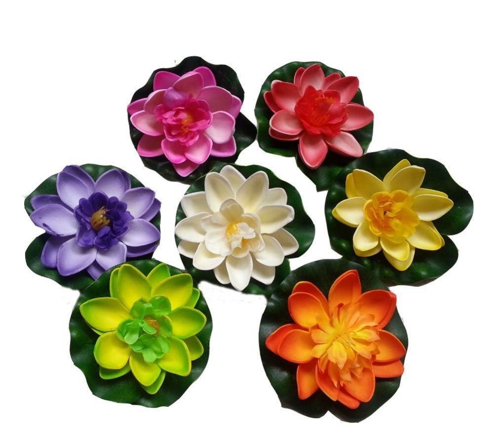 7Pcs/Set 18cm Artificial EVA Lotus Floating Water Lily Blooming Mini Foam Flower Head Pool Fish Tank Pond Home Garden Decoration