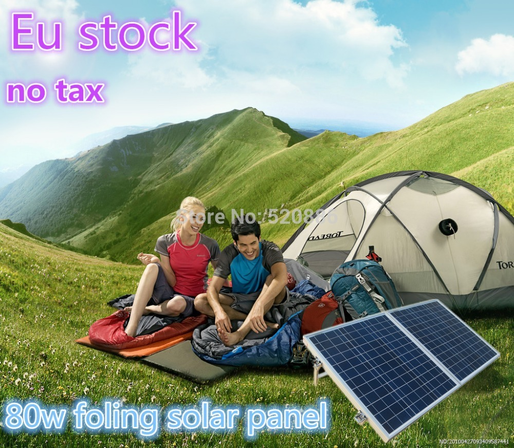 USA Stock No Tax 80W 12V Poly Portable Folding Solar Panel for 12v Battery RV Camping Boat Solar Generators 120w 12v pv folding mono solar panel for home outdoor camping hiking rv boat solar generators