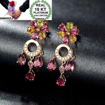 OMHXZJ Wholesale European Fashion Woman Girl Party Wedding Gift Flower Tassel Colorful Zircon 18KT Rose Gold Stud Earrings EA215