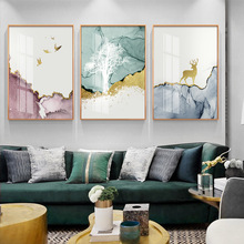 Abstract Painting Deer Forest Canvas Geometric Mountain Wall Paintings Animal Art Pictures For Living Room Unframed