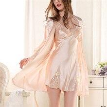 New Brand Two Piece Nightgown Robe Set Silk Sleep Lounge With Lace Robe Women Sleepwear Robe Bathrobe Nightdress Multicolor