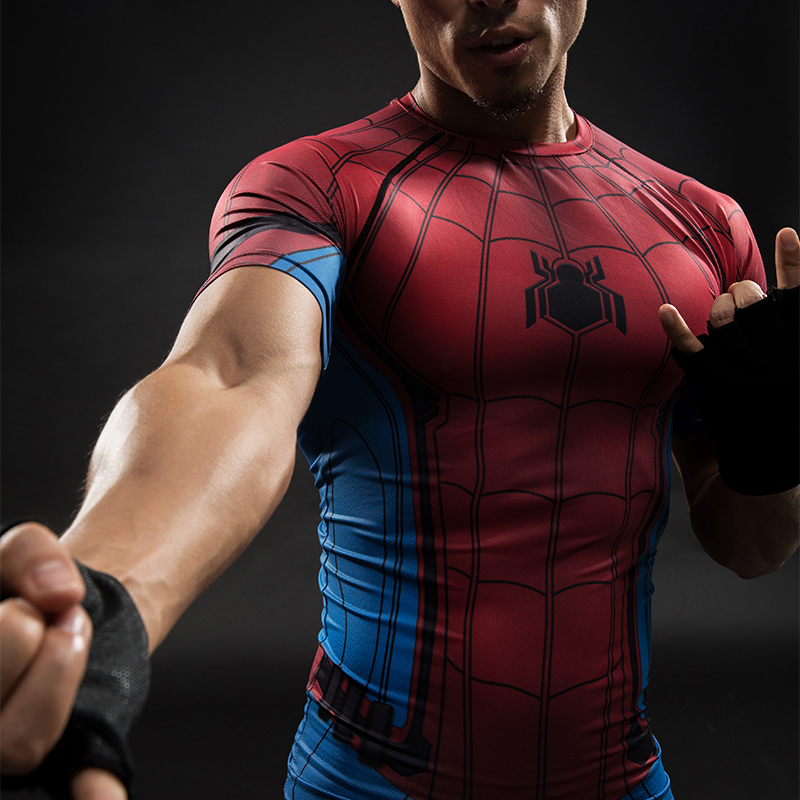 New Captain America 3 Spiderman Tops Male Compression Shirt Civil War 3D T-shirt Short Sleeve Fitness Slim Fit Cosplay T-shirt