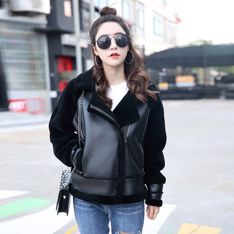 2018 new autumn winter high fashion street women sheep fur jacket with real leather casual warm zipper femme jacket fur outwear