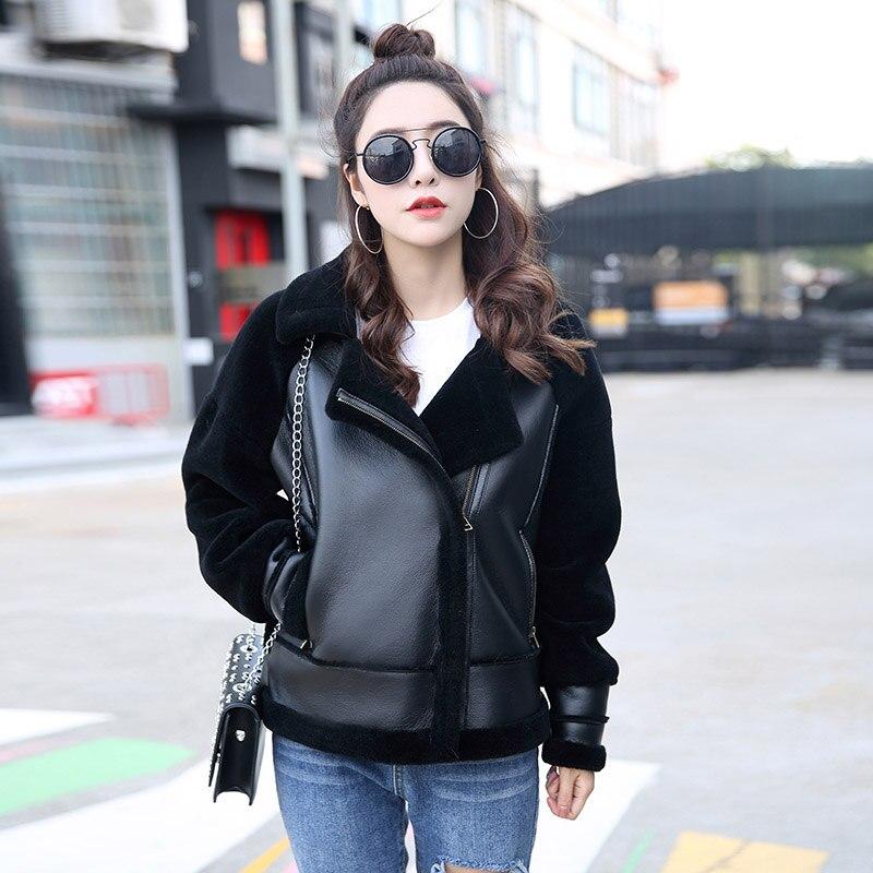 2018 nouveau automne hiver haute couture rue femmes moutons de fourrure veste avec réel en cuir casual chaud zipper femme veste de fourrure outwear