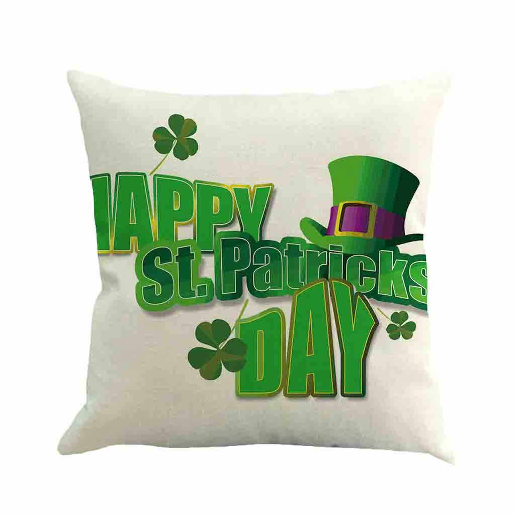 Sarung Bantal Happy St. Patricks Day Bantal Dekorasi Penutup Musim Semi Hijau Daun Dekorasi Sarung Bantal Kussenhoes Cojines Sarung Bantal