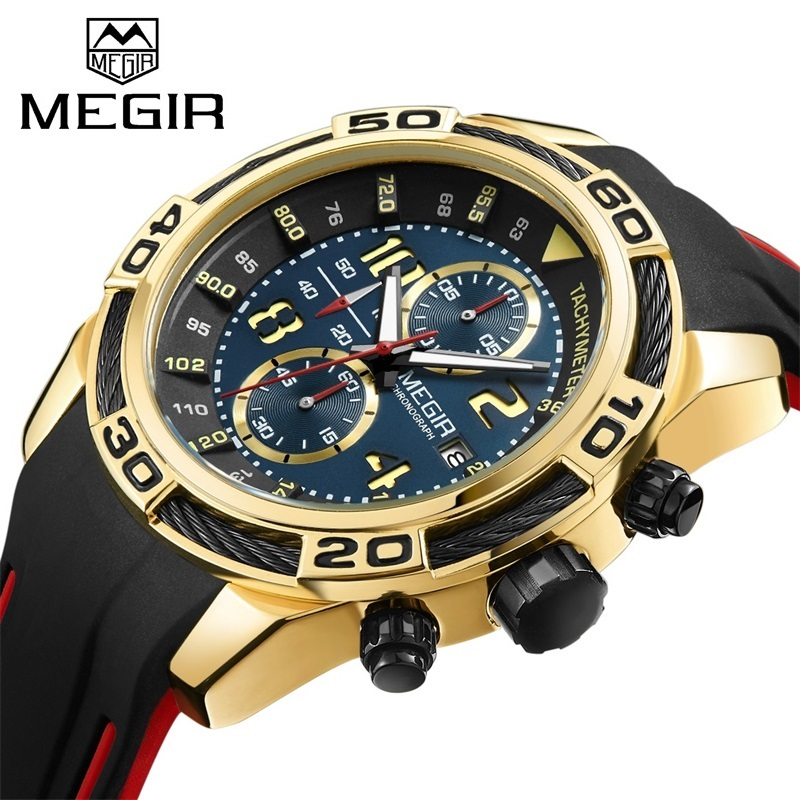 MEGIR Men Sport Watch Chronograph Silicone Strap Military Quartz Watches Gold Clock Men Top Brand Luxury Male Relogio Masculino megir men sport watch chronograph silicone strap quartz army military watches clock men top brand luxury male relogio masculino