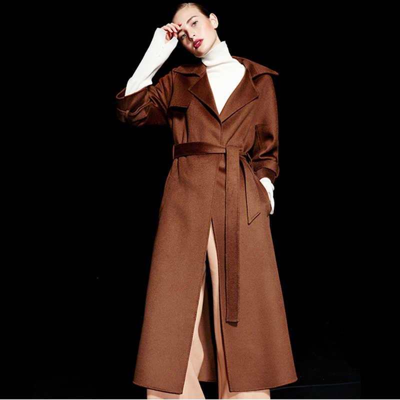 Двусторонняя модная зимняя и осенняя женская зимняя 100% шерстяное пальто Длинная Куртка женская винтажная Элегантная куртка верблюжьего цвета Большие размеры
