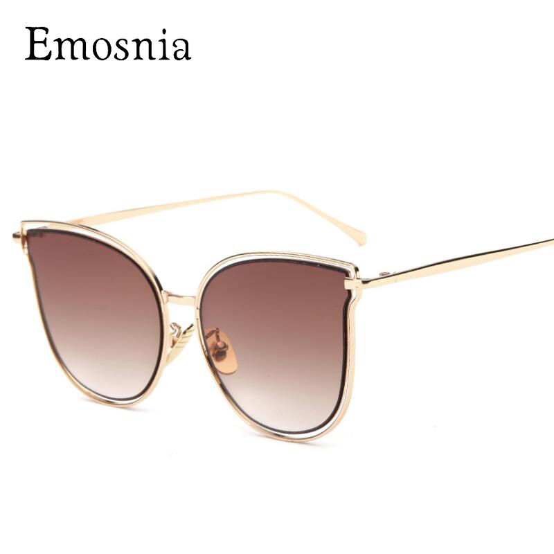 Emosnia Vintage Clear Cat Eye Sunglasses Pink Gold Silver Luxury Mirror Women Sunglass Lunette De Soleil Femme 2017 Unique Glass