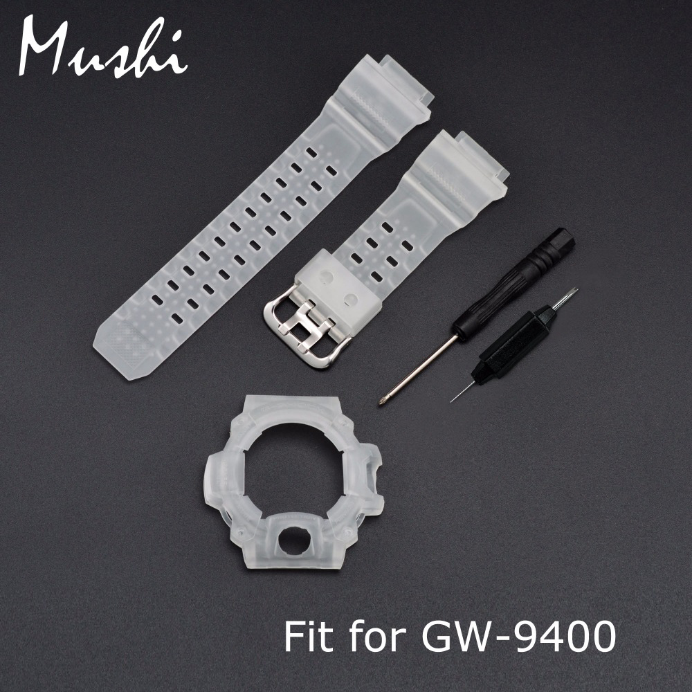 MS Silicone Rubber Watch Strap for Casio <font><b>GW</b></font>-<font><b>9400</b></font> Half Translucent Men Sport Diving Metal Buckle Watch Band Watch Case with Tool image