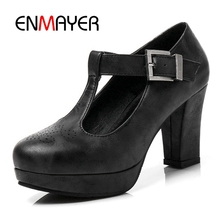 цены ENMAYER Ladies Pumps Women Causal Shoes Woman High Heels Female Round toe Spring Big size 34-43 T-strap Fashion shoes CR164