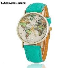 2016 Venta Caliente Nueva Moda World Map Reloj de Ginebra Mira a Las Mujeres Visten Los Relojes Reloj de pulsera de Cuarzo del relogio feminino 1574