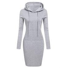 Alishebuy Hooded Dress Cotton Blend Fashion O-neck Long Sleeve Black Elegant Casual Dress vestido Bodycon Pencil Hoodie Dress