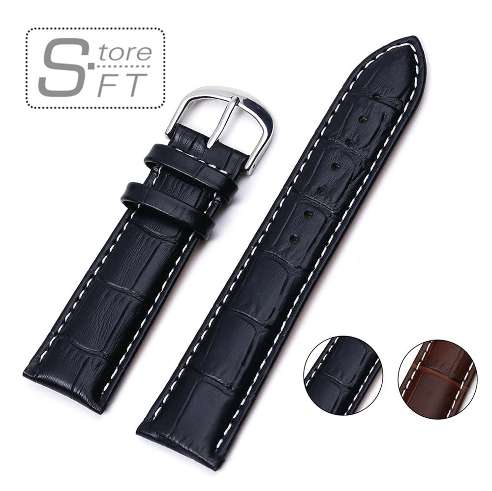 EACHE Crocodile Pattern Genuine Leather Watchband Watch strap Black brown 18mm 20mm 22mm 24mm men women Watch Accessories band