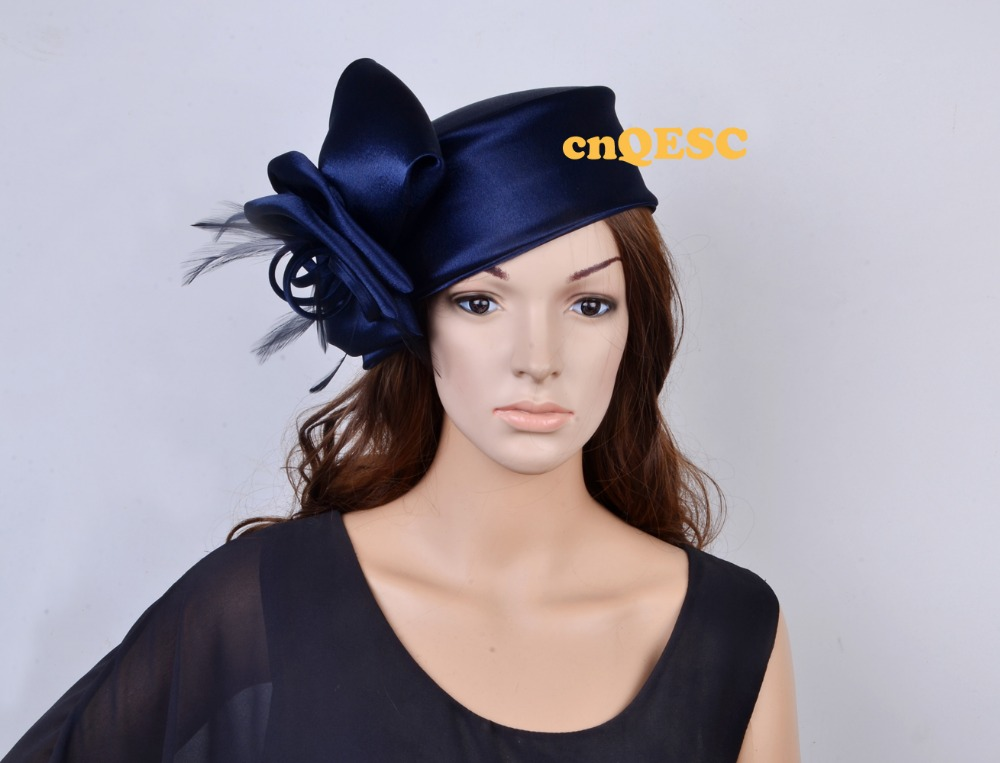 NEW 6 colors Navy blue Matte satin hat kentucky derby hat wedding hat  Church hat sinamay c8b959fe2231