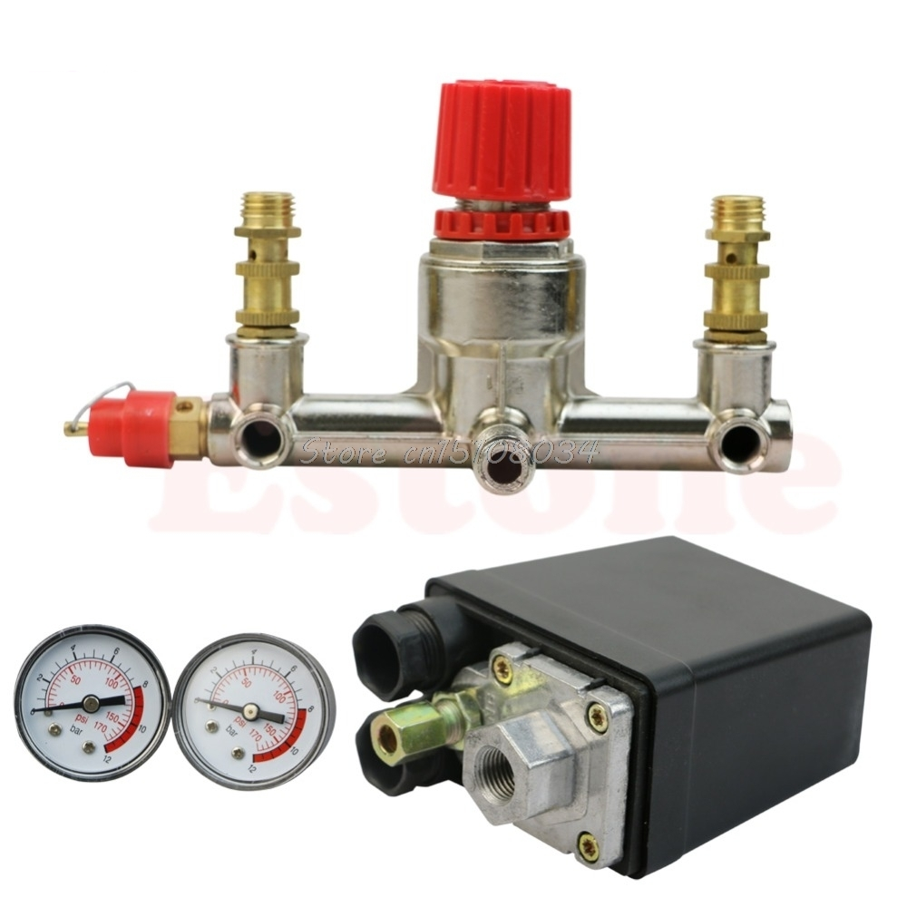 Heavy Duty Air Compressor Pump Pressure Control Switch + Regulator Valve Gauges #S018Y# High Quality шорты grishko шорты