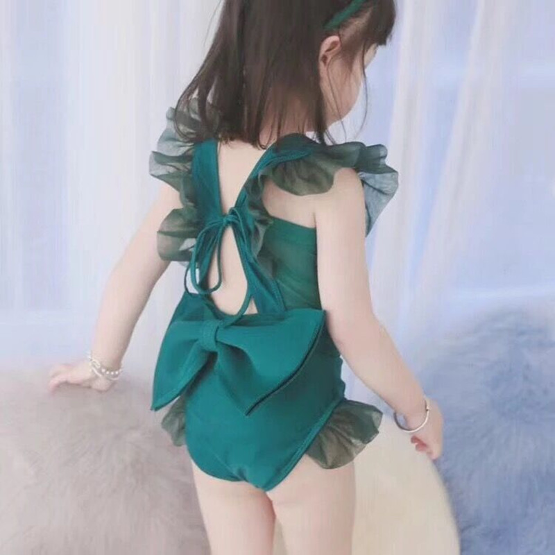 Ins Summer Fashion Princess Green ruffle swimsuit Oversize bowknot beach Clothing Kids Baby one piece bathing suit YZ19068 in Swimwear from Mother Kids