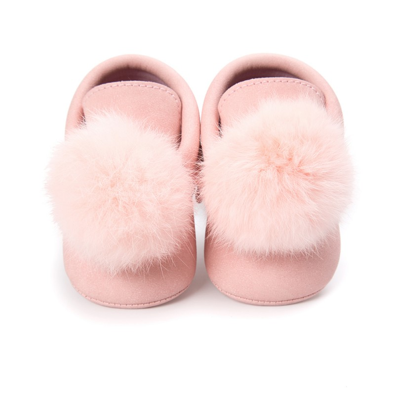 Toddler Baby Girl Shoes Pompon Ball First Walkers Girls Shoes Soft Sole Crib  Newborn Anti-Slip Moccasin Shoes
