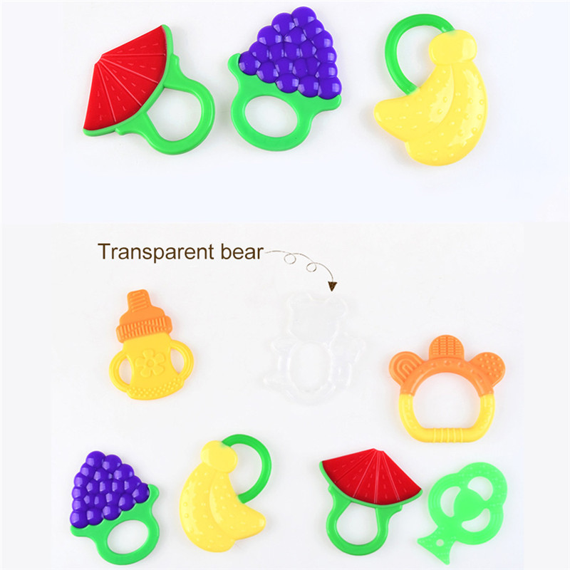 Baby Teething Toys Fruit Cartoon Silicone Teether Ring Infant Chew Toys Tooth Toys Baby Teether Food Grade Teether