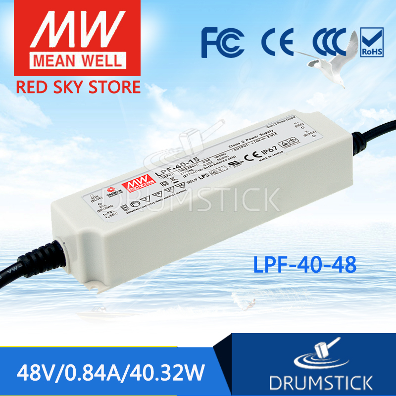 Selling Hot MEAN WELL LPF-40-48 48V 0.84A meanwell LPF-40 48V 40.32W Single Output LED Switching Power Supply mean well original lpf 40 30 30v 1 34a meanwell lpf 40 30v 40 2w single output led switching power supply