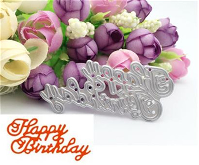 Happy Birthday Letter Sign Metal Cutting Dies Stencils For