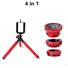 4in1 Lente Fish Eye Lens Wide Angle Macro Lenses Car Phone Holder With Universal Clip Tripod For iphone Samsung Xiaomi Huawei
